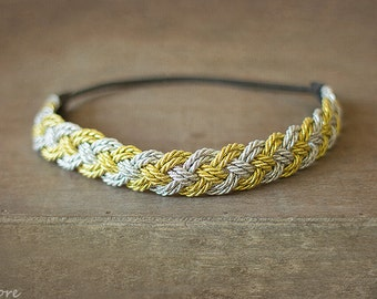 Women Silver and Gold Braided Headband, Women Headband, Bohemian Headband , Indie Headband, Hippie, Rope headband, Gift for Her, Christmas