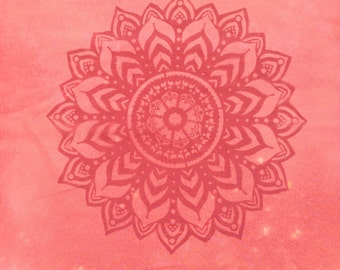 Unfinished 100% Cotton Discharged Dyed Pumpkin Spice Fabric Mandala Piece #2