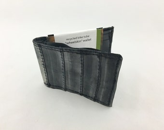 """Vegan, Recycled bicycle inner tube """"wheelskin"""" wallet - the perfect billfold  for cyclists, recyclists, and unique folks who like cool stuff"""