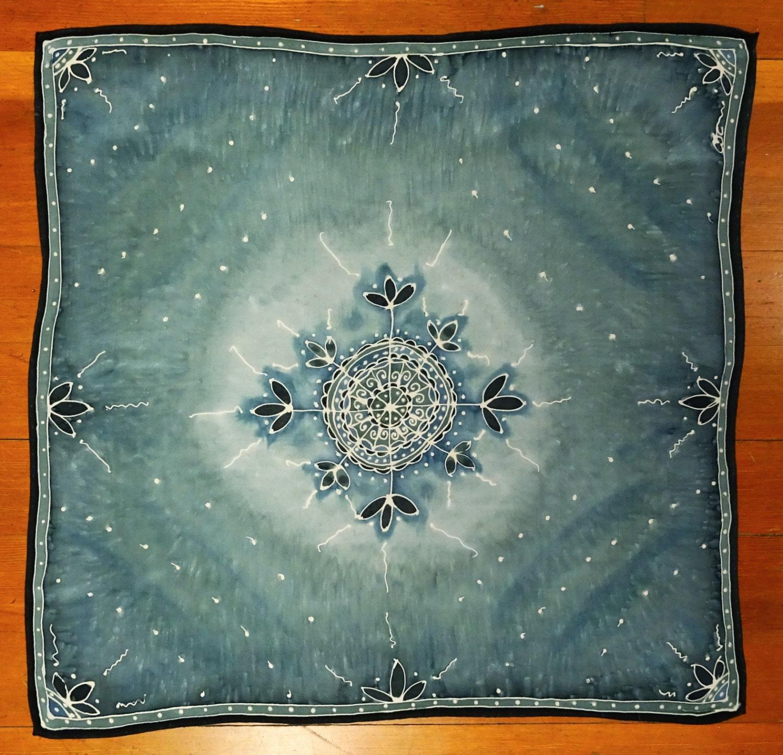 Sea Grey Mandala Hand Painted Silk Tarot Cloth Altar Cloth