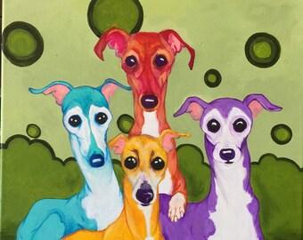 Greyhound art print, Three amigos 8x10 inch print, crtsart