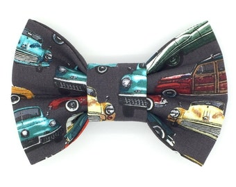 Classic Cars Snap-In Dog Bows® Bow Tie, Best Pet Bow Tie, Dog Bow Tie, Unique Pet Bow Ties, Cat Bow Tie, Fur Baby Bow Tie, Harness Bow Tie
