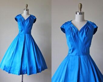1950s Dress - Vintage 50s Dress - Cobalt Blue Satin Full Skirt Cocktail Party Dress M L - Danube Dress