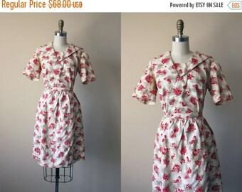 ON SALE 1960s Dress - Vintage 60s Dress - Nautical Novelty Print Cotton Sailor Top and Skirt XS S - Seven Seas Dress Set