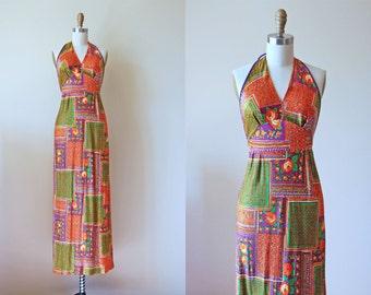 70s Dress - Vintage 1970s Sundress - Orange Green Purple Slinky Jersey Rose Print Halter Maxi Dress XS S - Patchwork Dress