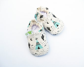 Organic Knits Vegan Southwestern Night / All Fabric Soft Sole Baby Shoes / Made to Order / Babies Shower Gift Teepee