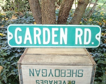 Vintage street sign, GARDEN RD. authentic Wisconsin city sign, gift for gardeners, old garden salvage, Mothers Day gift, road sign