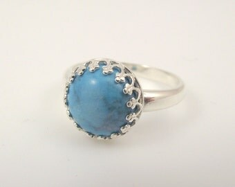 Victorian Sterling Silver Turquoise Ring, Ornate Silver Ring, Size 7