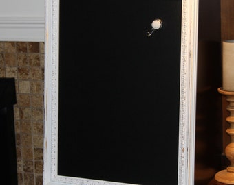 Large, Ornate, Distressed, White, Vintage-Framed, Magnetic, Chalkboard Wedding/Home/Restaurant (19 x 24 3/4 inches)