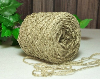 Sand Beige Chenille Yarn, Lace, Fingering Weight, Tan, Crochet & Knitting Chenille Yarn,  BIN 4