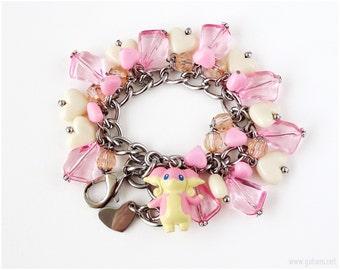 Pokemon Bracelet, Audino Charm Bracelet, Pokemon Jewelry, Kawaii Jewelry, Fairy Kei Bracelet, Pokemon Gifts