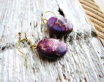 Jasper Earrings, Stone Oval Earrings, Purple Minimalist Earrings, Modern Fashion, Geology, Naturalist Gift Ideas, Beaded Dangles