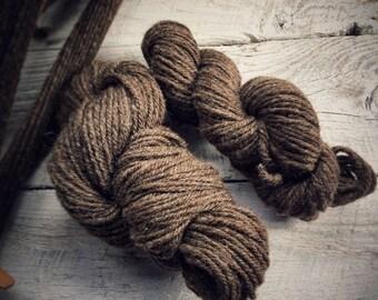 Undyed wool yarn - handspun wool - brown yarn - gift for knitters crocheters - eco friendly wool - knit crochet yarn - knitting supplies
