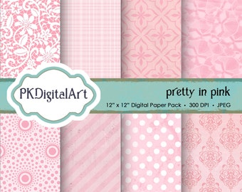 "Pink Texture Digital Paper - ""Pretty in Pink""  patterns backgrounds, projects, design, scrapbooking"