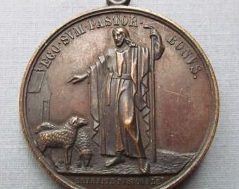Antique Saint Vincent Depaul Religious Medal Jesus I Am The Good Shepherd Pendant Signed Penin 1843   SS 415