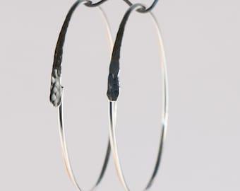 Gauged Hoop Earrings 14 or 16 Gauge Sterling Silver 2 Inch Circles