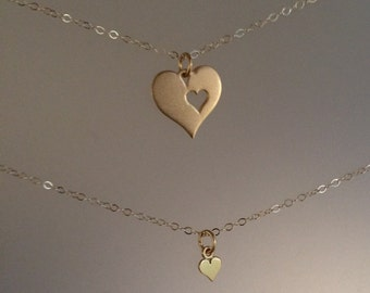 Mommy and Me SET OF TWO Gold Plated sterling silver Heart Necklaces, layering, everyday jewelry, gold filled, gift for her, Mother's Day