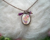 Broken China Necklace with Handmade Bezel Recycled Plates and Cups Copper Chain, Vintage Daffodil Bouquet