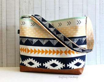 Aztec Horizon with Vegan Leather - Messenger Tote Bag /  Diaper Bag -  Medium / Large Bag  SALE