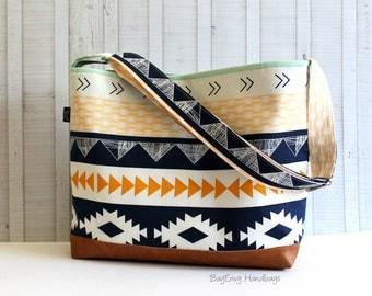 Aztec Horizon with Vegan Leather - Messenger Tote Bag /  Diaper Bag -  Medium / Large Bag  SALE