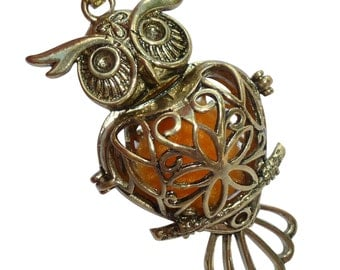 YOur perSOnal STYlish Essential oil necklace diffuser Steampunk owl bronze d1 0