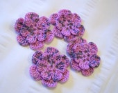 Crochet flower set of 4 motif 1.5 inch runaway bunny pink blue