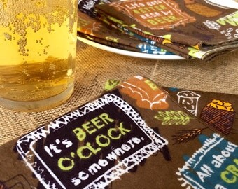 Cloth Party Napkins - Reusable washable - Craft Beer Time - set of 4 - 10 inch napkins