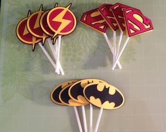 Super Hero Logo Cupcake Toppers