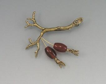 Rose Hip Bronze amd Gold-Fill Pin