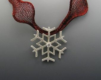 Snowflake Slide, Cubic Zirconia, Sterling