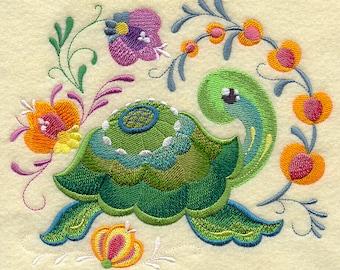ROSEMALING TURTLE - Machine Embroidery Quilt Block (AzEB)