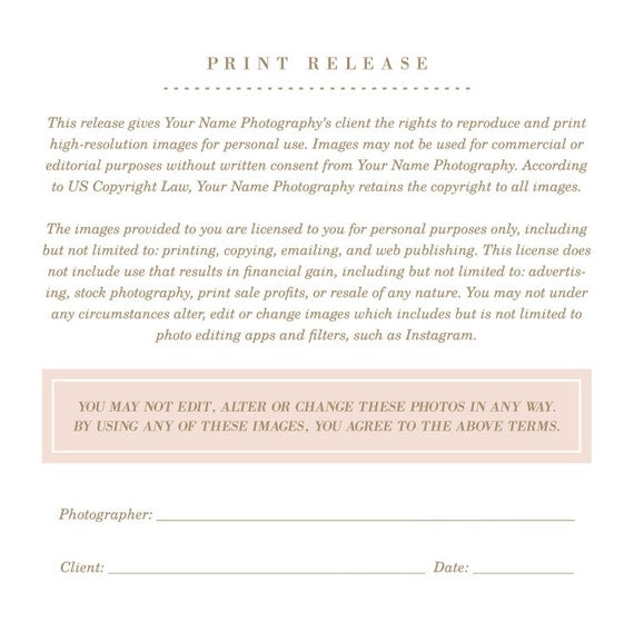 Photography Templates Print Release Form Photographer