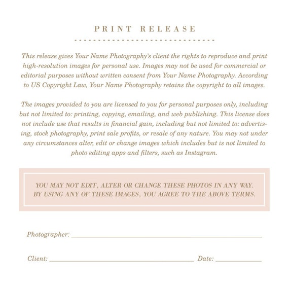 Copyright Release Form Instant Download Professional Photography