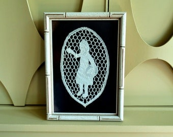 Unique Vintage Oval Bobbin Lace and Applique - Woman Sowing Seeds - Velvet Background - Framed with Glass