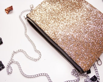 Gold glitter bag, clutch purse, evening bag, prom purse, wedding clutch