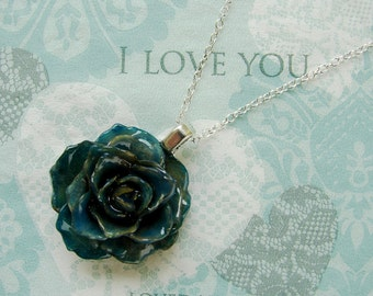 REAL Rose Flower Pendant - Smokey Blue Rose Flower Necklace - Sterling Silver Chain - Choose Chain Length