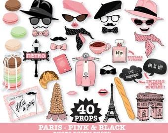 Paris Photo Booth Props - Paris Baby Shower, Chanel Party, Parisian, Wedding - Pink - Instant Download PDF - 40 DIY Printable Props