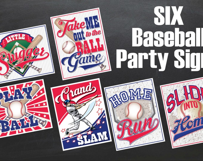 Baseball Signs - Little Slugger Party - Grand Slam - Baseball Party  - Instant Download PDF 6 Printable Props