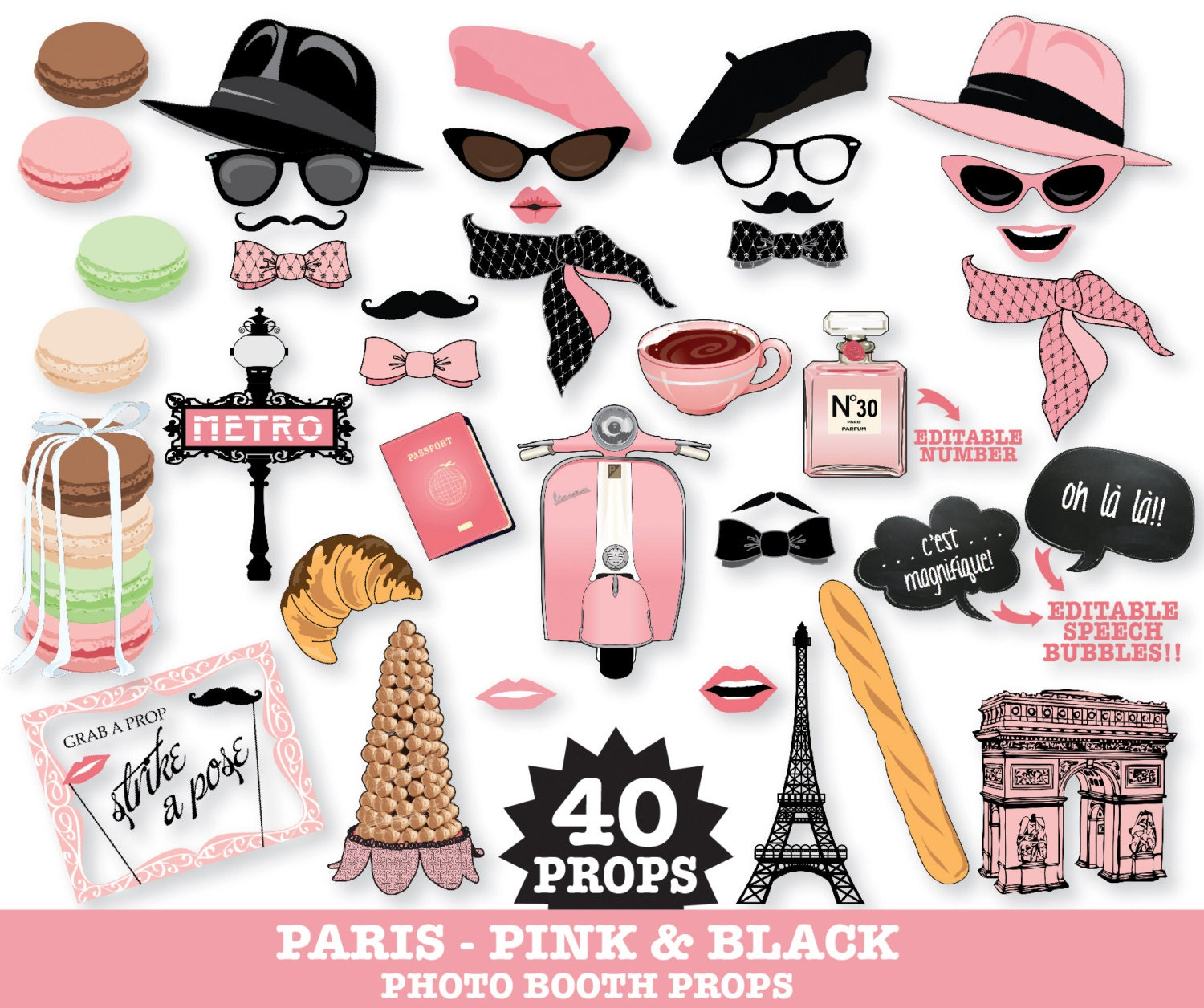 Assez Paris Photo Booth Props Paris Baby Shower Chanel Party UQ13