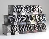 THE ALPHABET - 48pt Metal Letterpress - Script