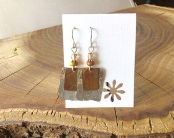Repurposed roofing copper and Shed Flashing  Earrings