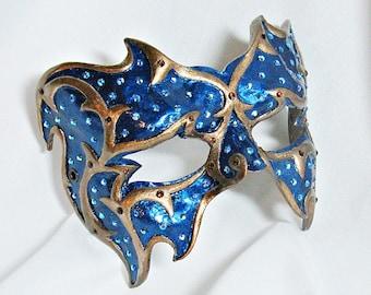 Dark Blue and Bronze Masquerade Mask - Venetian Mask - Crystal Mask - Blue Masquerade Mask - Paper Mache Mask
