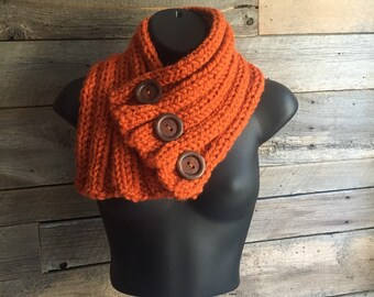 Button Cowl Scarf, Hand Knit Cowl, Chunky Knit Button Scarf, Ribbed Neckwarmer, Three Button Scarf, Triple Button Cowl, Neck Wrap