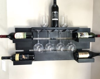 rustic wine rack, farmhouse decor,  black wine rack, reclaimed wood, wine display, glass holder, bottle holder, hanging wine rack