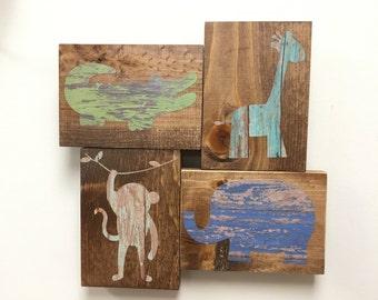 kid's nursery decor, alligator nursery, rustic decor, safari wall decor, rustic nursery, jungle friends, elephant nursery,  giraffe wall art
