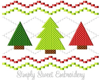 Faux Smocking Three Christmas Trees Embroidery Design