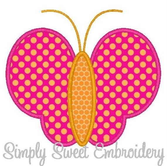 Butterfly outline machine embroidery applique design