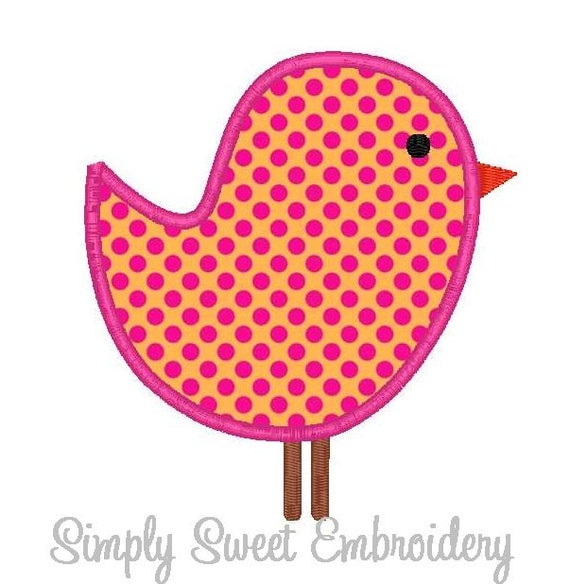 Little Bird Machine Embroidery Applique Design 2 sizes