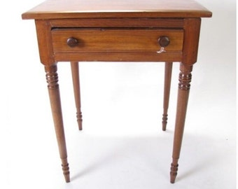 Antique Sheraton Table Stand Walnut Turned Legs 19d23w30h Shipping is Not free