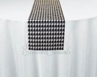 Black and White Houndstooth Table Runner Wedding Table Centerpiece Linens Decoration Retro Vintage Checker Decor
